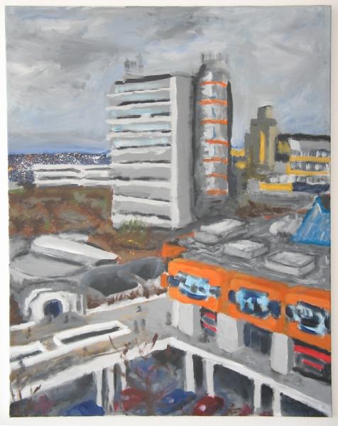 Thorsten Linke, Blick über den Campus (Uni Dortmund), 2007, Acryl / Lwd., 80x100cm.